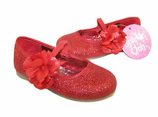 Infant Girls Children Red Sparkly Shoes Ballerina Pumps Party Bridesmaid Glitter