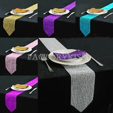 Simple Style Table Runner Rhinestone Table Cloth Wedding Party Banquet Decor LJN