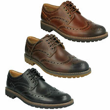 MONTACUTE WING MENS CLARKS FORMAL BROGUE DARK TAN LEATHER SMART LACE UP SHOES
