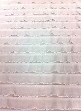 "Ruffles 1"" Sheer Polyester Spandex Fabric - White - 58"" Wide"