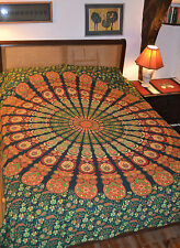 Bagru Mandalla print double bedspread cover wallhanging throw 100% Cotton Ethnic