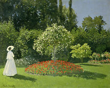 Monet Jeanne Marie Lecadre in the Garden Print High Quality Walll Art Picture