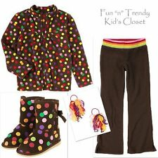 NWT CRAZY 8 GIRLS SIZE 5 6 OUTFIT SET LOT FLEECE JACKET PANTS HAIR BOOTS 11 & 12