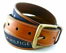 Tommy Hilfiger Brown Leather Belt Blue Inlay