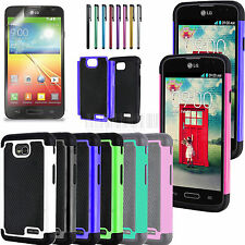 Rugged Hybrid Hard Impact Case Cover For LG Optimus L70 MS323 Exceed 2+Film