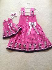 New Handmade Minnie Mouse Pink & Black w/ Hearts Toddler,Girls Dress,Doll Dress