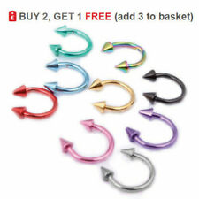 Horseshoe Bar Circular Barbell Ring Eyebrow Lip Nose 16g 1.2mm Colour Cone Spike