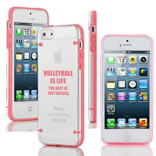 For iPhone 4 4s 5 5s 5c Transparent Clear Hard TPU Case Cover Volleyball Is Life