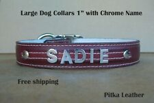 Chrome letters Personalized Leather Dog Collars - Custom made Name Collars Large