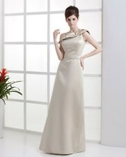 Mother of Bride/Groom One Shoulder Satin Empire Wedding Gown Evening Dress F075