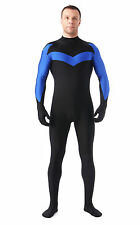 Free Shipping Unisex Spandex Lycra Blue Black No Head Zentai Catsuit Back Zipper