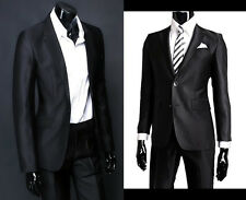 Mens Shiny Black 2 Pieces Formal Suit For School Proms Work Weddings Evening Set