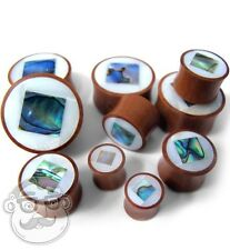 Square MOP & Abalone Shell Inlay Wood Plugs Sizes / Gauges (00G - 1 Inch) Pair