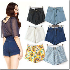Shorts Denim Jeans Pants High Waisted Taille Haute water Wash Vintage Retro Sexy