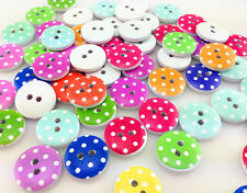 HOT 30-300pcs dot Mixed Pattern Wooden Buttons Fit Sewing and Scrapbook 15.0mm