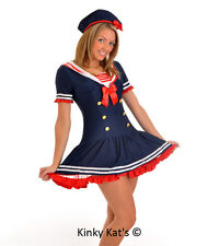 Sexy Navy Ladies Sailor Costume Fancy Dress Outfit One Size UK 8/10/12/14/16