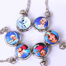 Fashion Disney Frozen Quartz Necklace Pocket Watch + Chain Child Girl Kids Gift