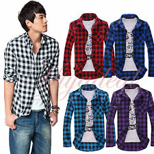 Fashion Mens Down Lapel long sleeve Casual Slim Fit Work Plaid Check Shirt