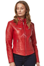 'SPEED' Ladies Red Retro Playful Biker Style Motorcycle Soft Leather Jacket