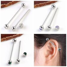 Pair Steel 14G Crystal Long Industrial Bar Barbell Cartilage Ear Rings Piercing