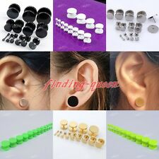 Pair 2-14MM Stainless Steel Double Flare Fake Cheater Ear Tunnels Plugs Earlets