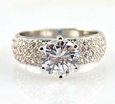 Noble Round cut Clear Cz silver Ring Size 6 7 8 9 10