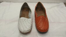 New! Womens Dress Shoes-Nice weaved leather pump in White or Orange