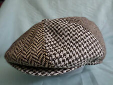 PATCH BROWN HERRINGBONE / CHECK BAKER BOY CAP NEWSBOY PAPERBOY 8-PANEL PIECE