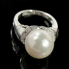 Noble Round Pear & white topaz Gemstones silver Ring Size 6 7 8 9 10