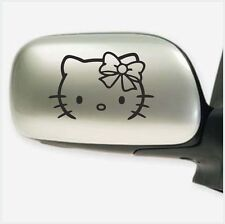 2pcs HELLO KITTY FACE HEAD BOW CAR MIRROR WINDOW VINYL DECAL STICKER DECALS M2