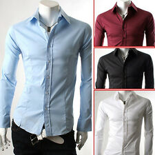 Stylish Men's Slim Business Formal/Casual Dress Shirts Tops Long Sleeve S M L XL