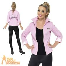 Deluxe Pink Lady Ladies Jacket Grease Frenchy Rizzo Fancy Dress Costume UK 8-18