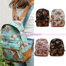 Womens Girls Flower Floral Bag Schoolbag Bookbag Canvas Travel Backpack Rucksack