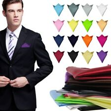 Mens Satin Pocket Square Plain Wedding Suit Party Handkerchief Hanky Colors Pick
