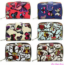 Good quality lady's oilcloth purse wallet zip flap many pockets butterfly owl