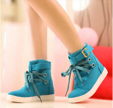 Womens new belt buckle high-top canvas lace up  shoes casual black ankle boots