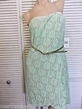 NWT-$89 TEEZE ME DRESS JR 7/9/13 MINT GREEN LACE STRAPLESS GOWN w NUDE LINING