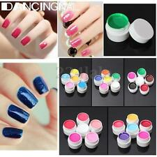 Pro 6 Pots Pure Color UV Gel Nail Art Tips Builder Cover Extension Manicure 8ml