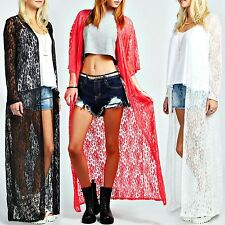 NEW LADIES LACE OPEN CARDIGAN WOMEN CELEB KIMONO LONG FLORAL TASSEL KAFTAN