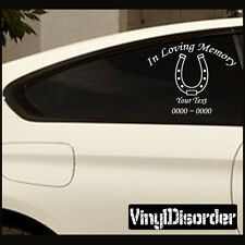 Horseshoe In Loving Memory Custom Car Or Wall Vinyl Decal Stickers