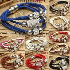 Women Magnetic Bracelet Bead Ball Crystal Buckle Leather Wrap Cuff Bangle HOT