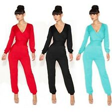 New Womens Bodycon Sexy V-Neck Bandage Long Sleeve Rompers Clubwear Jumpsuits