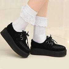 British Retro Women's Faux Suede Lace-up Punk Platform Flat Shoes Kawaii Ulzzang