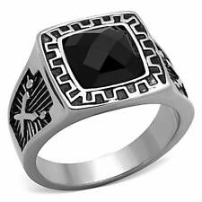 TK1356  Mens Stainless Steel  aaa grade jet  cz ring  signet pinky black square
