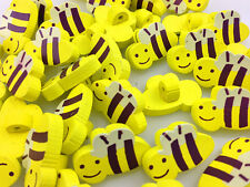 NEW 10-100pcs MIX BEE Pattern Wooden Buttons Fit Sewing and Scrapbook 20.00mm
