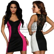 Lady Lace Back Sleeveless Slim Mini Pencil Dress Sexy Club Cocktail tmas