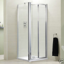 BIFOLD DOOR FRAMED EASY CLEAN SAFETY GLASS SHOWER ENCLOSURE TRAY & FREE WASTE