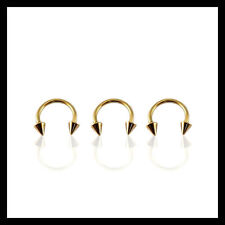 GOLD Circular Barbell Horseshoe Ring 16g Eyebrow Nose Anodized Steel with Cones
