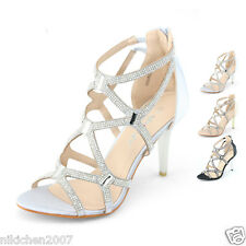 New Womens Sparkly Strappy Pumps Wedding Evening Dress High Heels Wide Fit Shoes