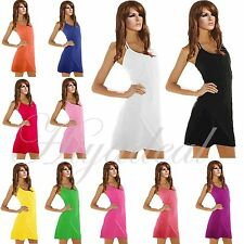 Women Simple Summer Beach Cover Up Halter Dress Bikini Top Vest Skirt Swimwear